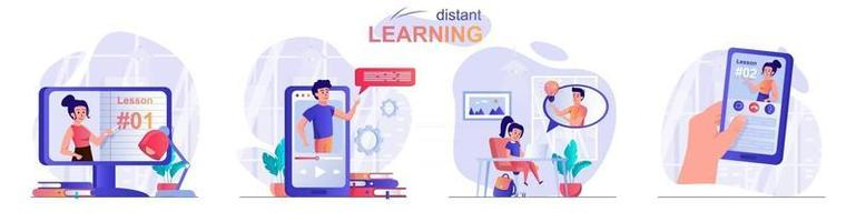 Distant learning concept scenes set vector