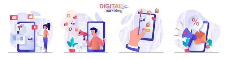Digital marketing concept scenes set vector