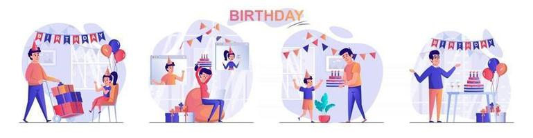 Birthday concept scenes set vector