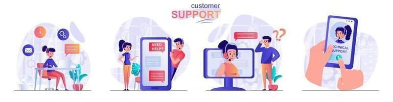 Customer support concept scenes set vector