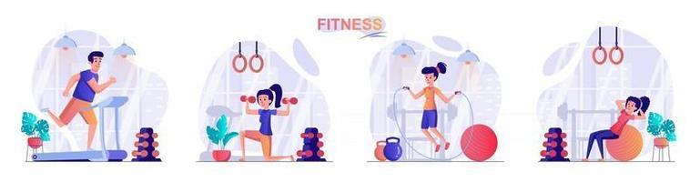 Fitness concept scenes set vector