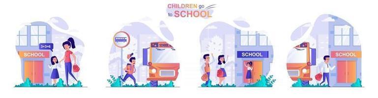 los niños van a la escuela concepto de escenas establecidas vector
