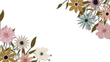 Abstract art nature background. plants frame. background flowers vector