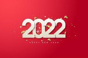 Fondo de año nuevo 2022 con diseño de lujo. vector