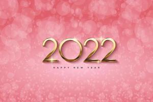año nuevo 2022 con números dorados y fondo bokeh. vector