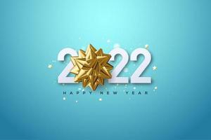 2022 con ilustración de flor dorada sobre fondo azul. vector