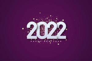 2022 año nuevo con números apilados sobre fondo morado. vector
