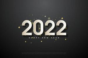 año nuevo 2022 con salpicaduras de oro en el fondo. vector