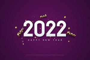 feliz año nuevo 2022 con diversión festiva. vector