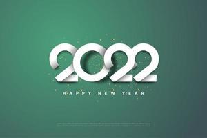 feliz año nuevo 2022 con números únicos apilados. vector