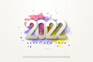 año nuevo 2022 con números y colores de fondo. vector