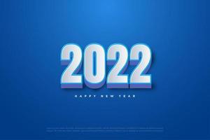 feliz año nuevo 2022 con generación de números 3d. vector