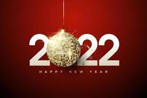 feliz año nuevo 2022 con linternas brillantes. vector