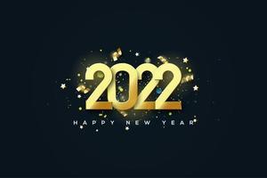 año nuevo 2022 con números brillantes y alegría festiva. vector