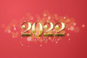 año nuevo 2022 con fondo bokeh. vector