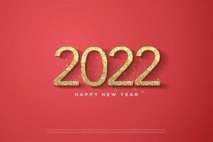 año nuevo 2022 con números de purpurina dorada. vector