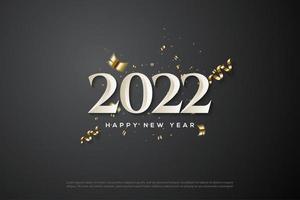 feliz año nuevo 2022 con cinta dorada. vector
