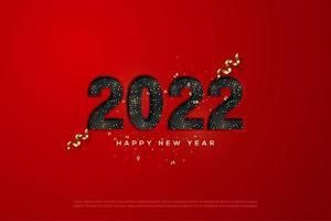 feliz año nuevo 2022 con números sobresalientes. vector