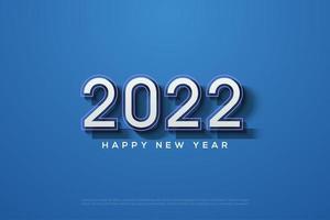 Fondo 2022 con números en relieve sobre un fondo azul. vector