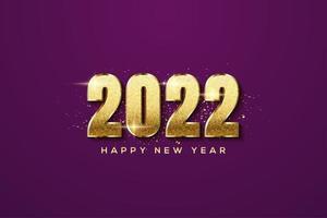 año nuevo 2022 con números dorados. vector