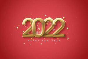 feliz año nuevo 2022 con oro. vector