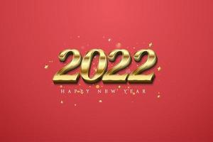 Fondo 2022 con números de oro y bokeh. vector