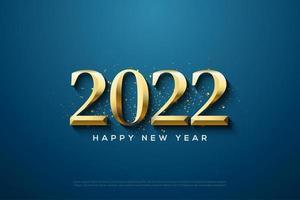 2022 con números de oro sobre fondo azul oscuro. vector