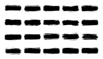 Black grunge brush strokes collection isolated on white background vector