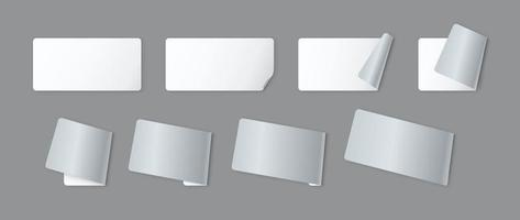 Blank white label paper sheets with curled corner vector