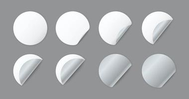 Blank white round paper sheets with curled corner vector
