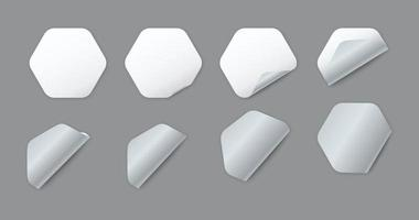 Blank white hexagonal paper stickers with curled corner vector