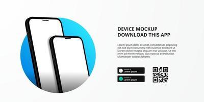 banner for downloading app for mobile phone, 3D smartphone mockup vector