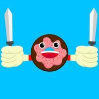 Vector illustration of cute cartoon donut holding swords