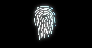 elaborazione digitale futuristica dell'animazione biometrica dell'impronta digitale nera. scansione di sicurezza delle applicazioni di sblocco del telefono cellulare informatico finger video