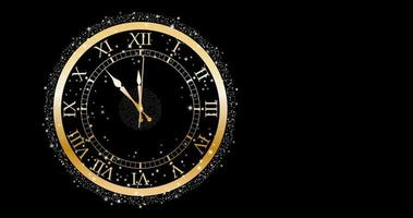 Gold clock on black wall video