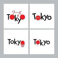 Tokyo Typography design sport concept, Japan flag. vector