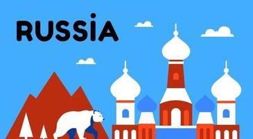 Russia. Nature, the bear and the Orthodox Church. Russian culture vector