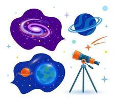 un telescopio astronómico mira al espacio. colocar. planetas, estrellas. vector