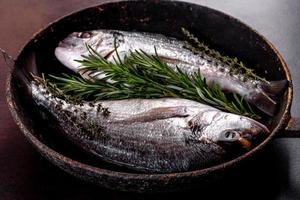 Raw dorado with spices and herbs in a pan is prepared for baking photo