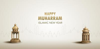 happy muharram islamic new year card design with two gold lanterns vector