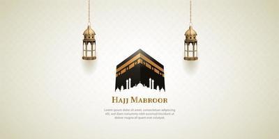 islamic hajj pilgrimage card design with lanterns and holy kaaba vector