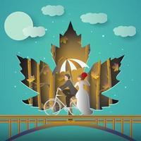 ilustración de pareja romántica montando bicicleta vector
