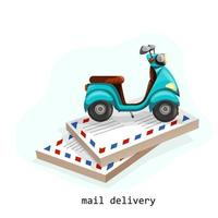 Vector image of several stacks of envelopes and a scooter standing