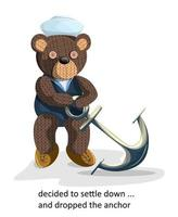 Vector image of a toy bear in motros clothes with an anchor