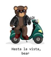 Vector image of a toy bear on an electric scooter