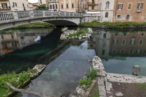 Roman bridge over the Velino river in the city of Rieti, Italy, 2020 photo