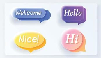 conjunto de vector de discurso de vidrio realista burbuja plana colorida.