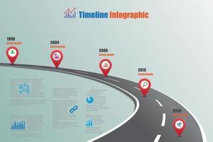 Ilustración de vector de plantilla de infografía de línea de tiempo de hoja de ruta empresarial
