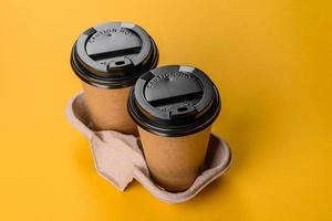 Disposable dishes made of environmentally friendly brown cardboard photo