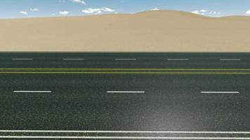 rak asfaltväg i den sandiga öknen video